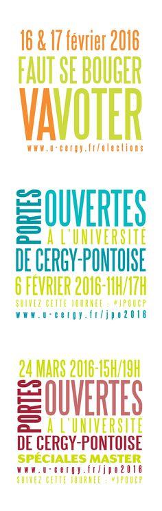 Visuels pour serviettes papier, élections représentant étudiants et journées portes ouvertes, université de Cergy-Pontoise
