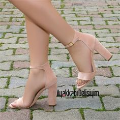 Melosa Süet Pudra Tek Bant Kalın Topuklu Ayakkabı #pink #heels