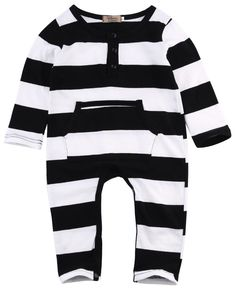 Super Cute Infants Baby Girls Boys Zebra Stripe Rompers Clothes Infant Babies Long Sleeve Romper Outfits 0-3Y Clothing