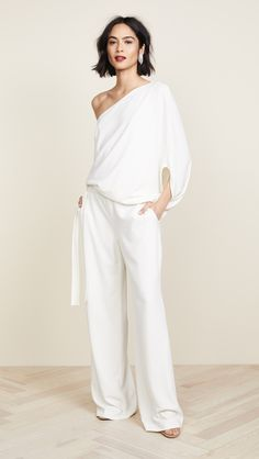 Kollette - Halston Heritage Asymmetrical Wide Leg Jumpsuit - The world's largest fashion stores in one place! Jumpsuits For Girls, Blue Jumpsuits, Rompers Women, White Fashion, Look Fashion, Fashion Outfits, Womens Fashion, Fashion Tips, 80s Fashion