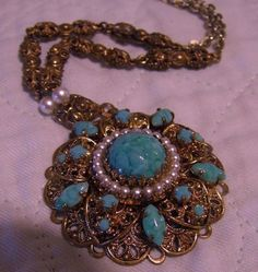VINTAGE WESTERN GERMANY FILIGREE NECKLACE - TURQUOISE ART GLASS & FAUX PEARL #WesternGermany