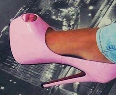 Patent leather pink heels