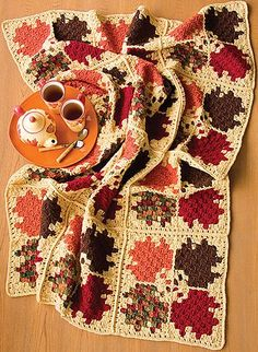 How Pretty! Autumn Leaves Afghan: This crochet blanket pattern is so delightfully fall