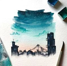 Here is a list of 31 easy watercolor art ideas for beginners. Have lots of fun creating stunning, colorul watercolor paintings for yourself! Watercolor City, Easy Watercolor, Watercolor Artists, Painting With Watercolors, Simple Watercolor Paintings, Watercolour Drawings, Watercolor Portraits, Watercolor Paper, Watercolor Flowers