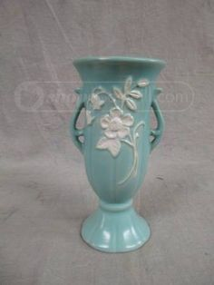 Weller Pottery vase- Wild Rose pattern.