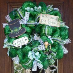 Deluxe Deco Mesh ST PATRICK'S DAY Wreath by decoglitz on Etsy