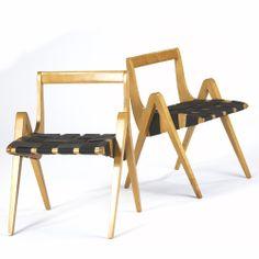 Richard Neutra; Birch Sidechairs, c1950.