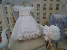 miniature baby dress and bonnet by Monica Roberts via Linda Carswell at Une Petite Folie blog