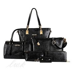 Womens HandbagWomens Bag 6 Pieces Set Bags Crocodile Large Shoulder Bag Tote Bag PU Leather Black * More info could be found at the image url.Note:It is affiliate link to Amazon.