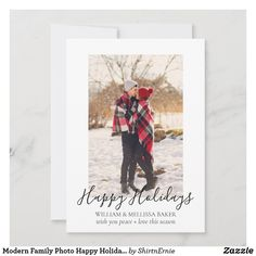 Modern Family Photo Happy Holidays Green Tartan Holiday Card Christmas Greetings, Holiday Cards, Photo Cards, Photo Greeting Cards, Rustic Design, Modern Design, Little White, Black And White, Rustic Save The Dates