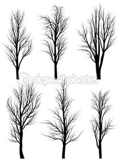 Silhouettes of birch trees without leaves. — Stock Illustration #19634835