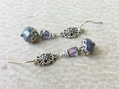 Lavender Earrings Purple Earrings Silver Earrings by SmockandStone