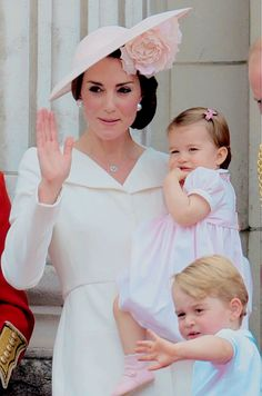 The Cambridges in the balcony of Buckingham Palace as they celebrate Trooping the Colour, in London on June 11, 2016.