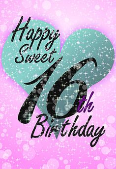 """""""Sweet 16"""" printable card. Customize, add text and photos. Print for free!"""