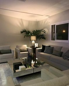 Living Room Plants Area - Comfy Living Room Decorating Ideas on a Budget Living Room Interior, Home Interior, Living Room Decor, Interior Design, Modern Interior, Tv Wall Design, Inside Design, Living Room Designs, Home Furnishings