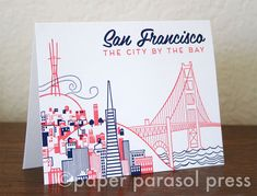 San Francisco City Love Letterpress Printed Card by paperpararsolpress on Etsy.  $5.15 or 3 for $12.50.
