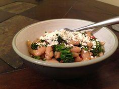 Pasta w broccoli raab, white beans, olives and feta