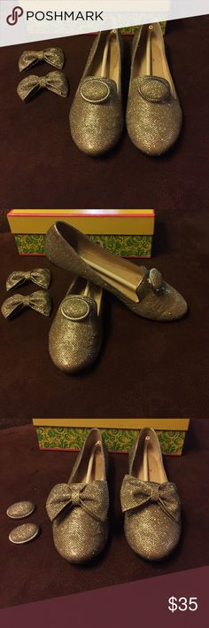 Convertible gold loafers Convertible loafers with two different tops. Great condition. Size 8. Great for this holiday season! Shoes Flats & Loafers