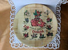 Vintage Floral Emblems of Canada Souvenir Bamboo Tray Plate