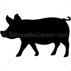 Pig silhouette clip art. Download free versions of the image in EPS, JPG, PDF, PNG, and SVG formats at http://silhouettegarden.com/download/pig-silhouette/
