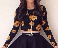 Long black sleeve sunflower crop top