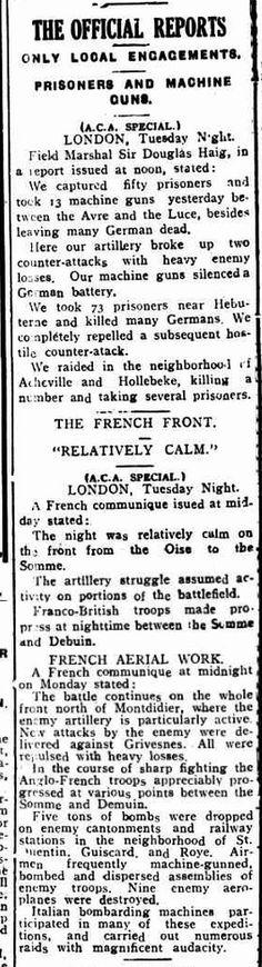 WWI, 3 April 1918, Western Front -The Bathurst Times, NSW, Australia