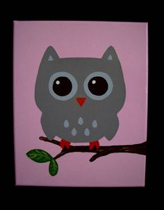 Decorate your child's woodland owl themed room or nursery with these adorable stretched canvas acrylic paintings. Colors shown are 1 grey canvas, 1 pink canvas and 1 canvas with pink, grey and white stripes. Includes pictures of an owl in shades of pink and an owl in shades of grey