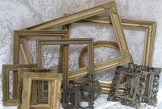vintage gold frames collection 14 ornate vintage frames wedding decor home decor wood metal plastic traditional victorian. $65.00, via Etsy.