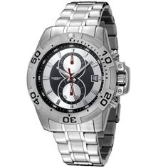 I By Invicta Men's 41699-001 Chronograph Stainless Steel Watch Invicta. $59.99. Chronograph functions with 60 second and 60 minute sub dials; date function. Black and silver dial with silver-tone hands and hour markers; luminous; unidirectional bezel with black numerals; security clasp on crown; red second hand. Precise Japanese-quartz movement. Water-resistant to 165 feet (50 M). Durable mineral crystal; brushed and polished stainless steel case and bracelet. Save 87% Off!