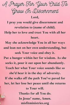 A Prayer For Your Child To Grow In Discernment