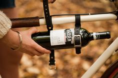 Bicycle Wine Rack is a holster that is attached to step-through bike frame. This equipment is able to keep your wine bottle safely to your destination. Wine Carrier, Bottle Carrier, Leather Bicycle, Bike Rider, In Vino Veritas, Bike Frame, Bicycle Accessories, Leather Tooling, Tooled Leather