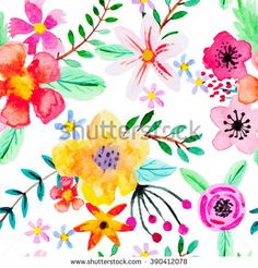 Seamless pattern with abstract watercolor flowers. Red, pink, yellow and orange flowers on a white background. Bright, beautiful background for your design. - stock vector