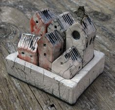 """Small Raku Walled City, 3"""" x 5"""".  Each house can be removed individually.  Mark Strayer, North Star Pottery"""