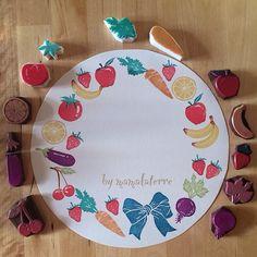 #RubberStamp via instagram : @mamalaterre ||| stamp, rubber, eraser, carve, stationery, vegetables, farmers market, fruit, kitchen, craft, DIY
