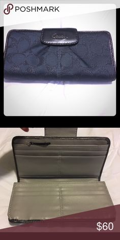 Signature Coach Wallet Signature fabric with a hint of sparkle. Like new, clean inside and out! Only carried a few times! Comes in dustbag. Coach Bags Wallets