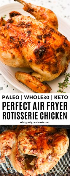 The best air fryer rotisserie chicken recipe that's easy and yields the crispiest skin with juicy, tender meat! You'll never return to store-bought chicken again after you try this out. Whole30 Dinner Recipes, Low Carb Chicken Recipes, Paleo Recipes, Real Food Recipes, Lean Recipes, Keto Dinner, Clean Dinner Recipes, Tender Meat, Keto Holiday