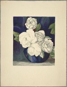 'Les Roses' (1925) by MargueriteBeauzée-Reynaud (1894-1985). Taken from 'Traité d'enluminure d'art au pochoir' par Jean Saudé. NYPL Digital Gallery