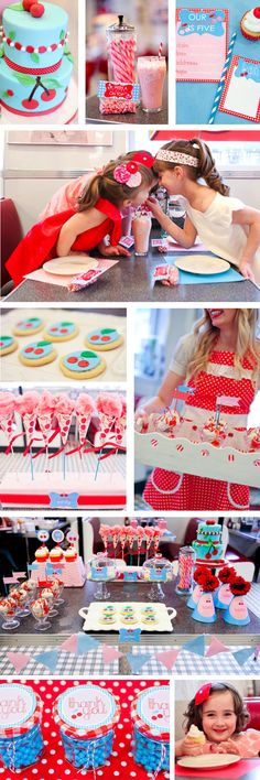 50's style retro kids birthday party at a diner. Featured on @amyatlas.