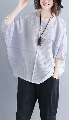 Classy o neck Batwing Sleeve patchwork cotton blended Shirts Women design gray purple baggy tops Summer Top classy Cheap Womens Tops, Casual Tops For Women, Baggy Tops, Loose Tops, Casual Skirt Outfits, Estilo Boho, Batwing Sleeve, Summer Tops, Simple Dresses