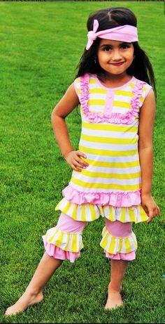 Girls Pink Lemonade Boutique Capri Set New 12M-7YR #Boutique #Everyday
