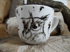 RĘCZNIE MALOWANY KUBEK - SOWA Mugs, Tableware, Art, Art Background, Dinnerware, Tumblers, Tablewares, Kunst, Mug