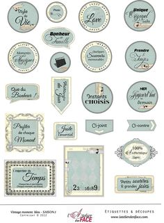 ETIQUETTES VINTAGE MOMENT - BLEU saison 1 Printable Labels, Printable Stickers, Planner Stickers, Printables, Scrapbook Stickers, Scrapbook Paper, Pocket Scrapbooking, Etiquette Vintage, Vintage Scrapbook