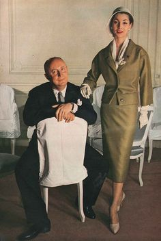Christian Dior with house model Renee 1957