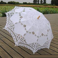 Handmade Baumwollstoff Holzgriff Spitze Hochzeit Sonnenschirmen K01 ------ Brauthochzeits-Zubehör