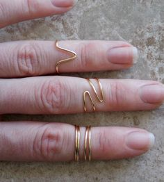 Mid Knuckle Rings, Set of 4, Gold Above The Knuckle Rings, Bohemian Rings, Midi Rings, First Knuckle Rings $14.00