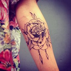 Dotwork Indian Feather Rose tattoo