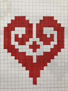 Graph Paper Drawings, Graph Paper Art, Art Drawings Sketches, Cross Stitch Art, Cross Stitch Designs, Cross Stitch Patterns, Pixel Pattern, Pattern Art, Modele Pixel Art