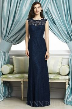Column Bateau Lace Long Bridesmaid / Party Dress