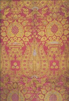 Mid-16 c., Length with a pattern of tulips and crowns (detail), 291 x 67 cm. [probably made in Italy, based on motifs such as the crowns]