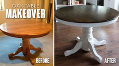Even though there was nothing wrong with my small oak table, it was just time to give it a facelift.  Please don't be intimidated by a project this size, this was the first project I tackled after we bought our house and it was very doable for a beginner DIYer.  The hardest part was all …